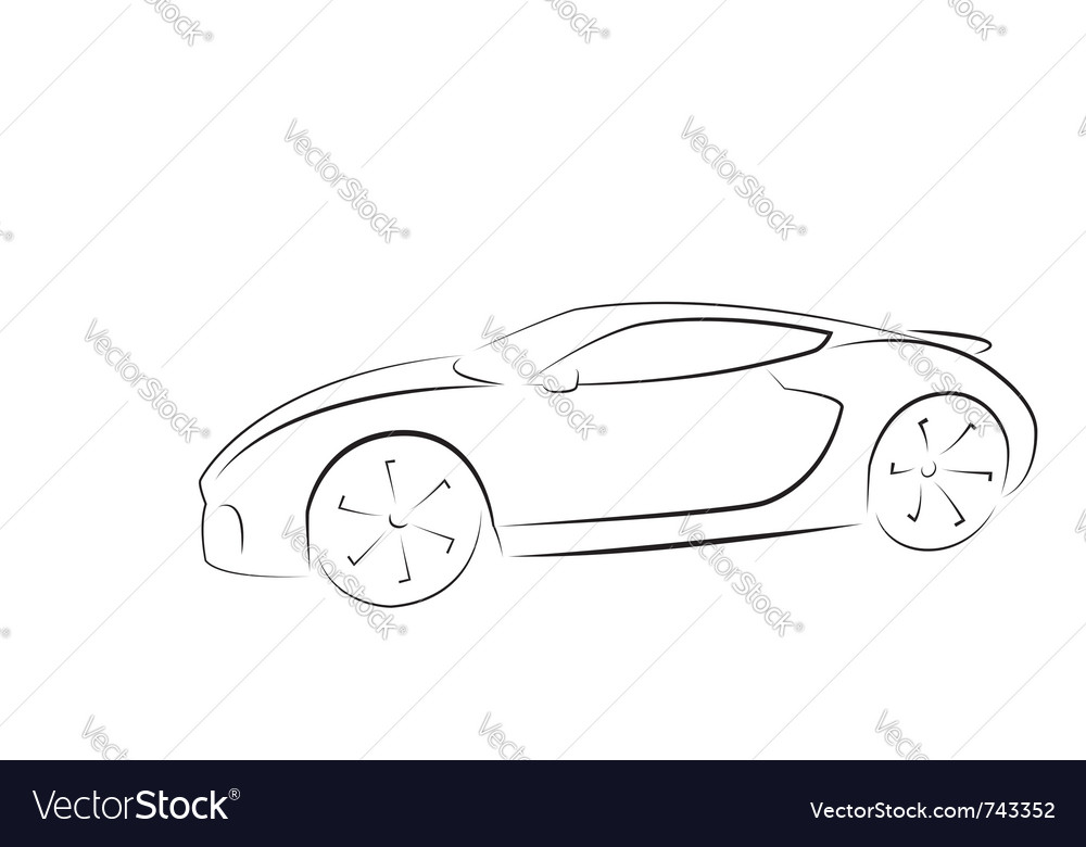 Sport Car Silhouette Royalty Free Vector Image