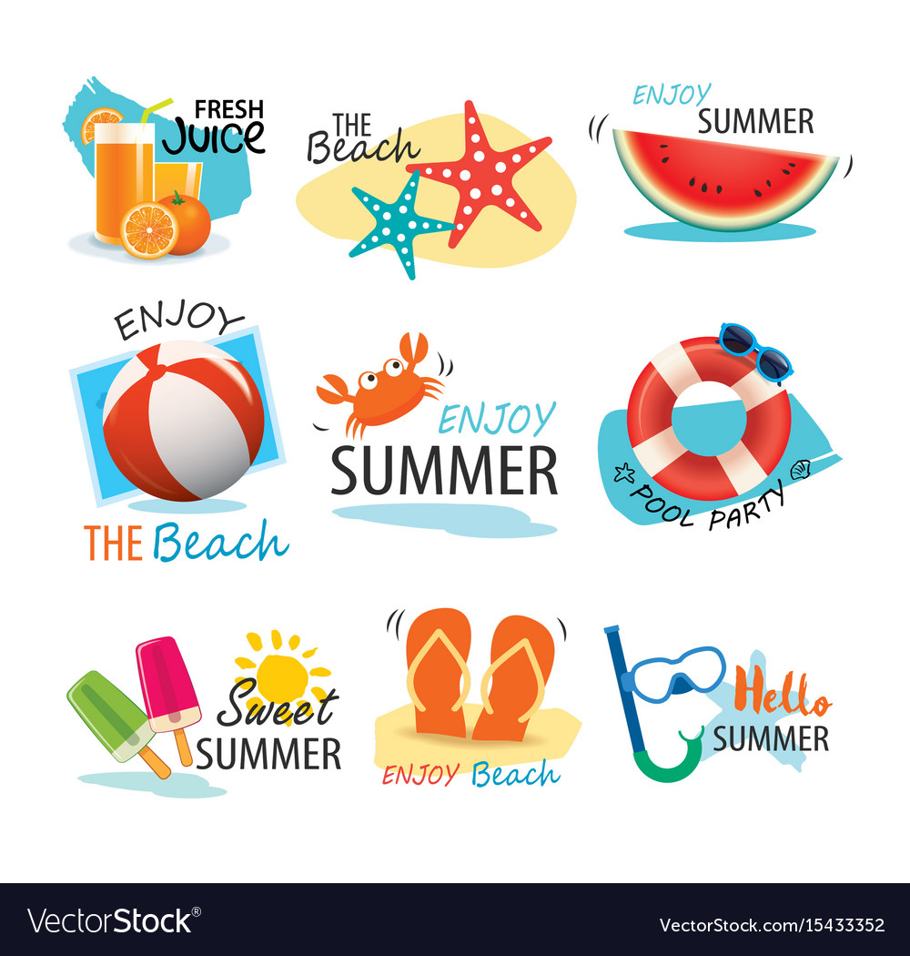 Summer label banner tag and elements background