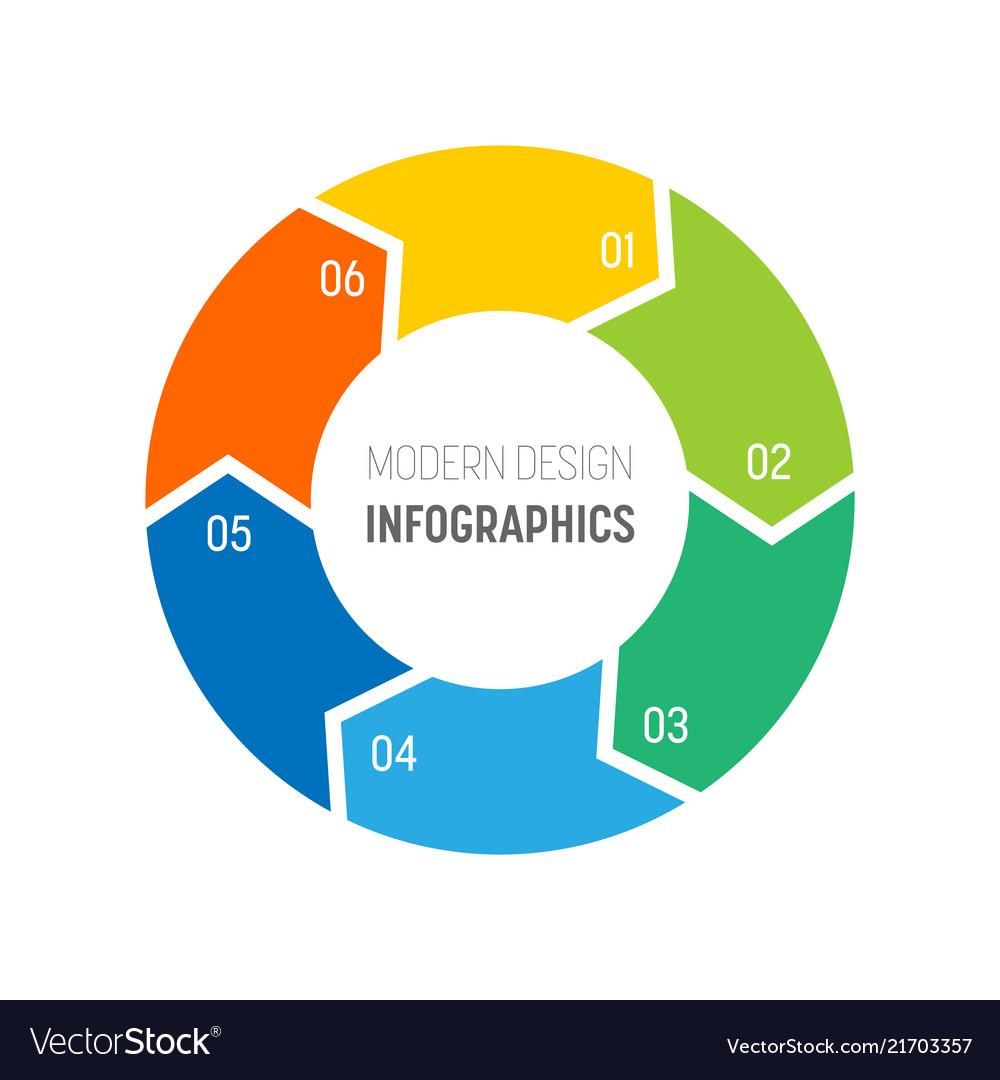 6step process modern infographic diagram graph