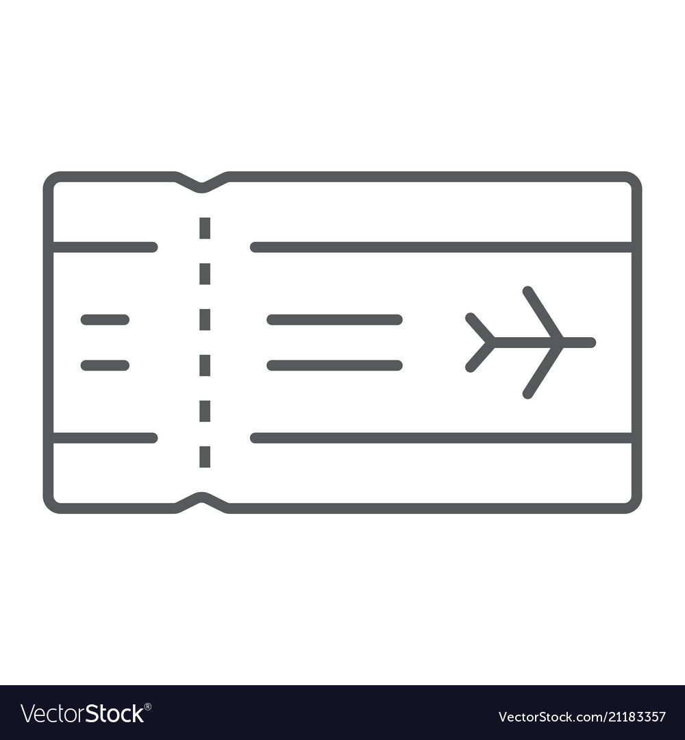 Airport ticket thin line icon travel and tourism