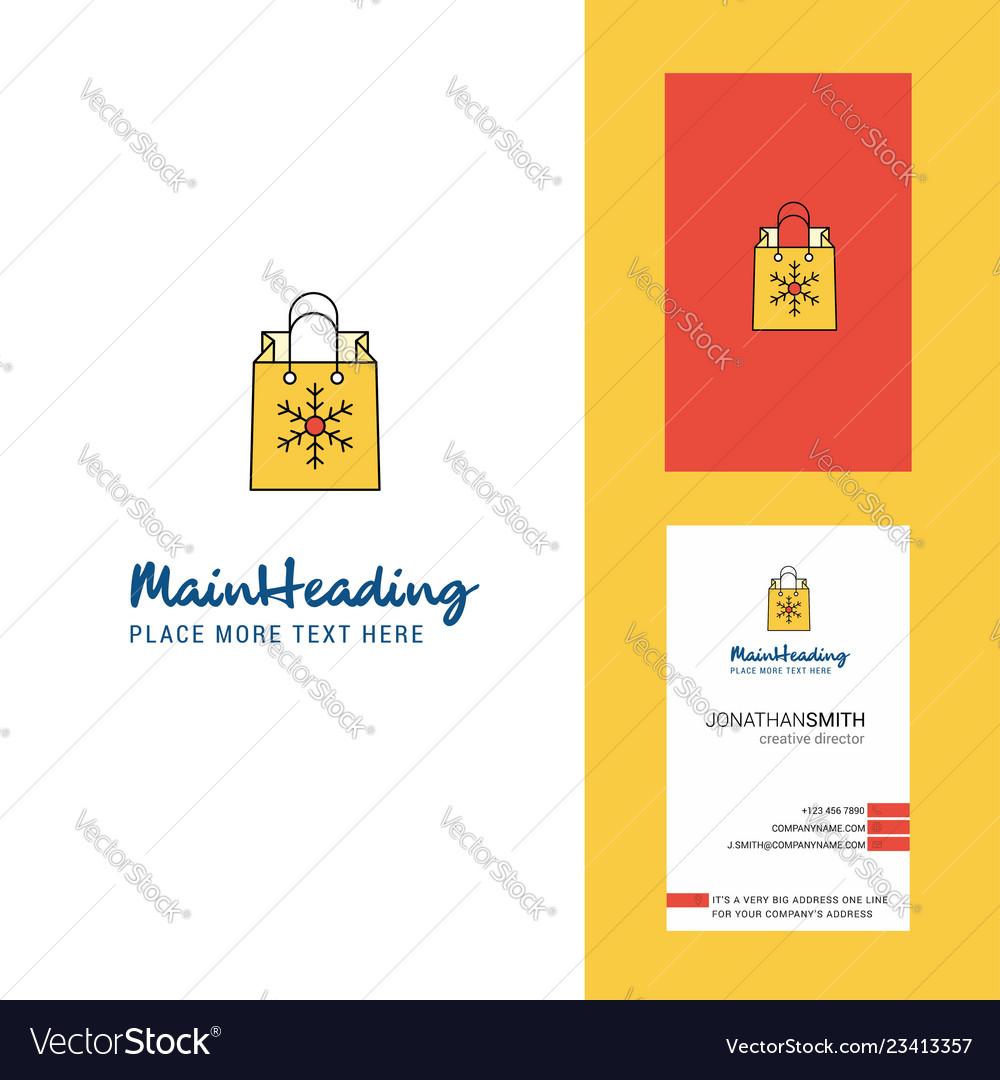 Christmas shopping bag creative logo and business