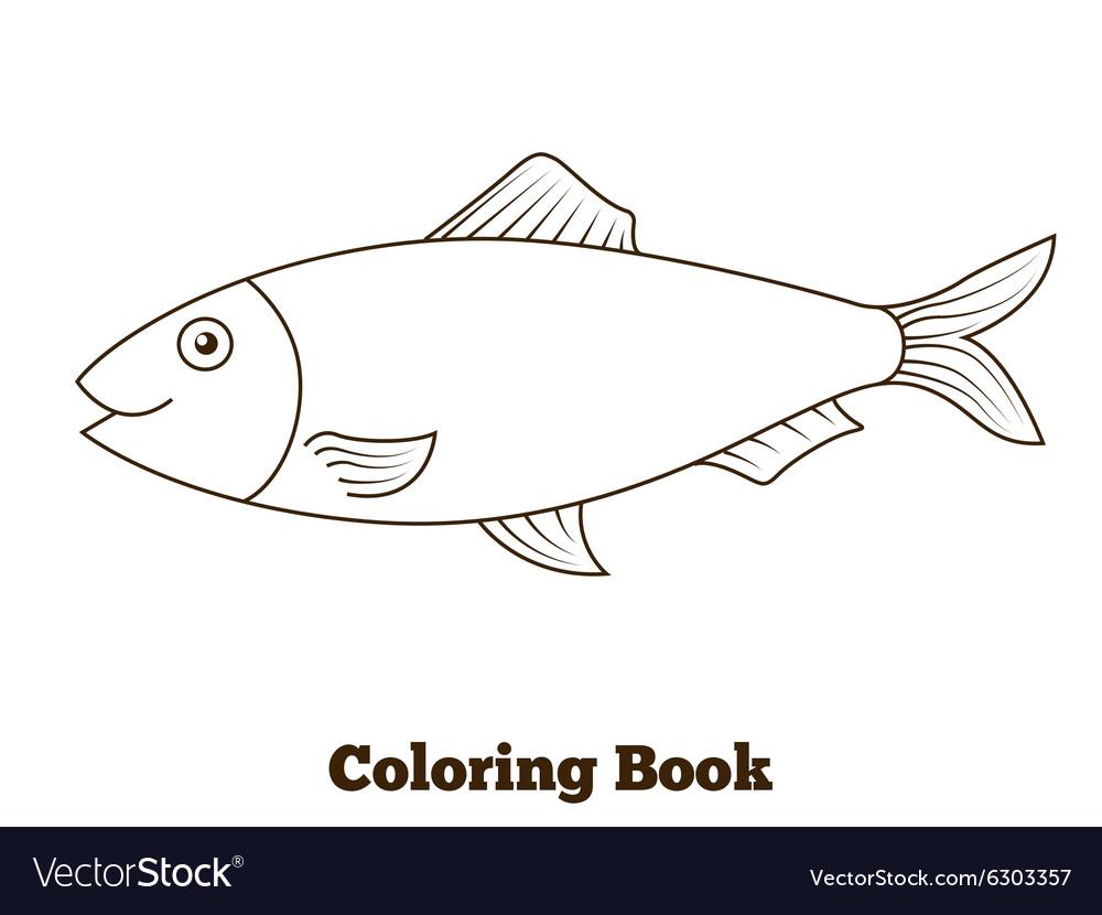 Coloring book herring fish cartoon