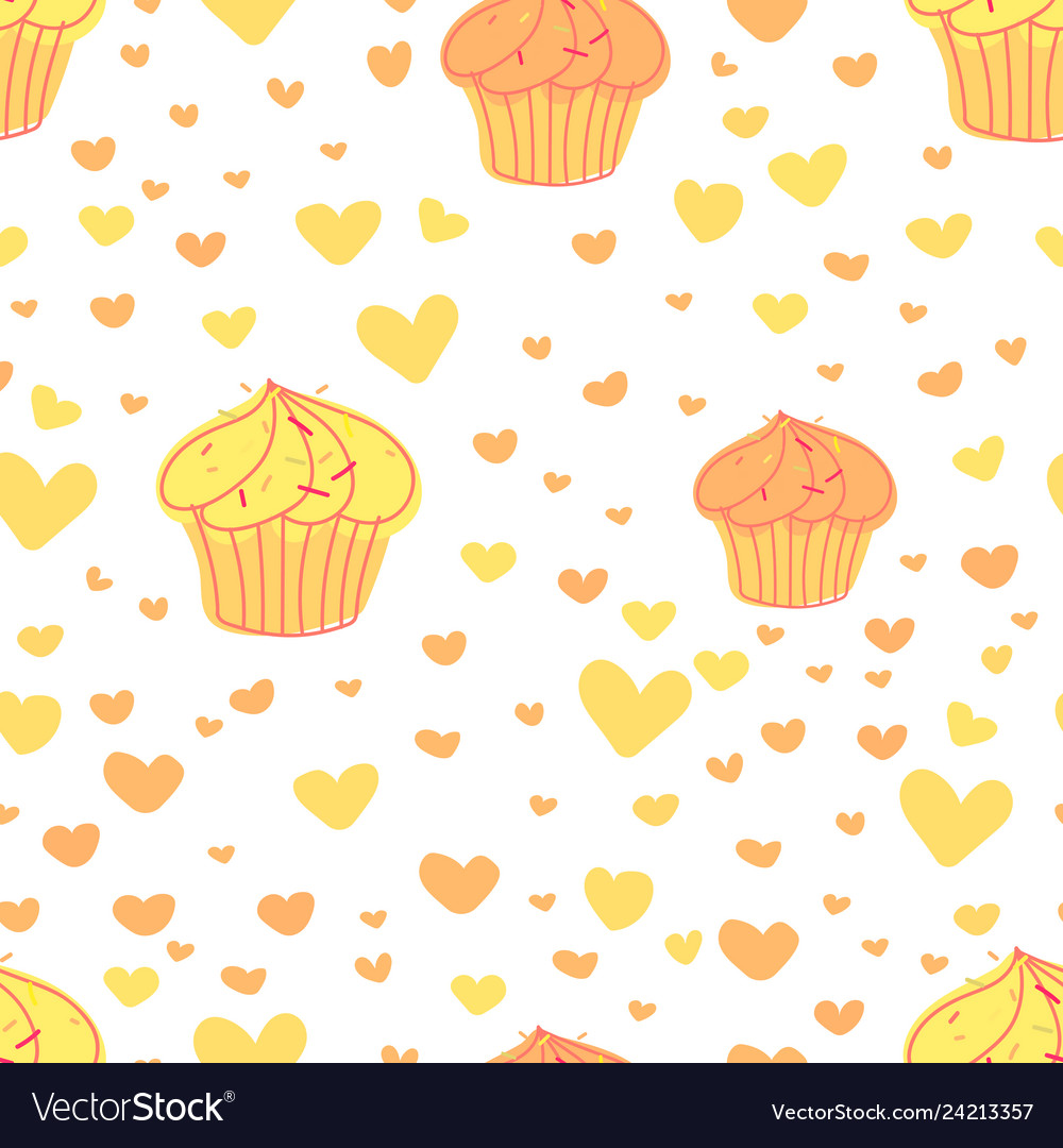 Cupcakes pattern background cute bakery pattern