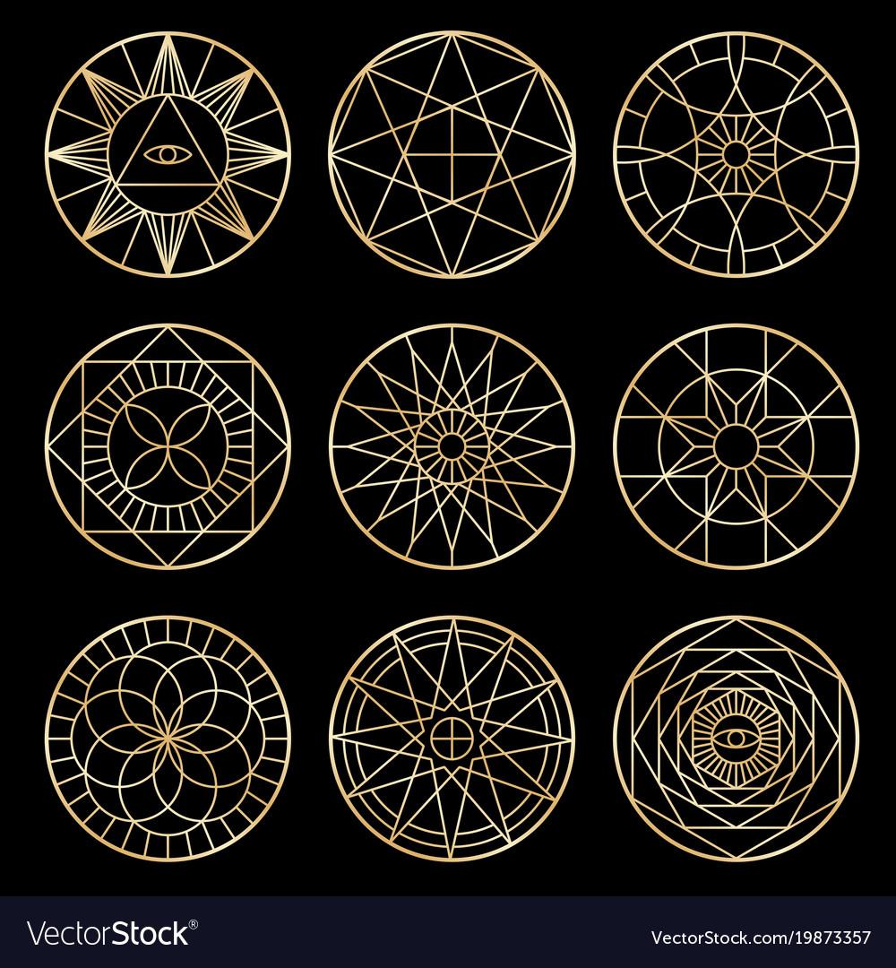 Esoteric geometric pentagrams spiritual sacred