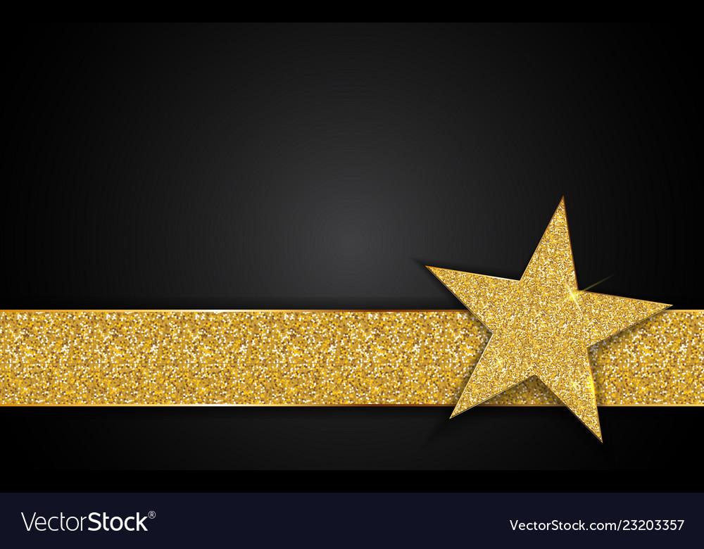 Gold shiny star on black background