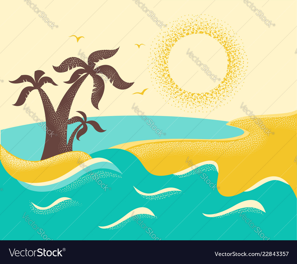 Ocean waves and tropical island with palms poster