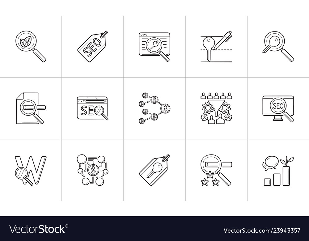 Seo optimization and marketing hand drawn outline
