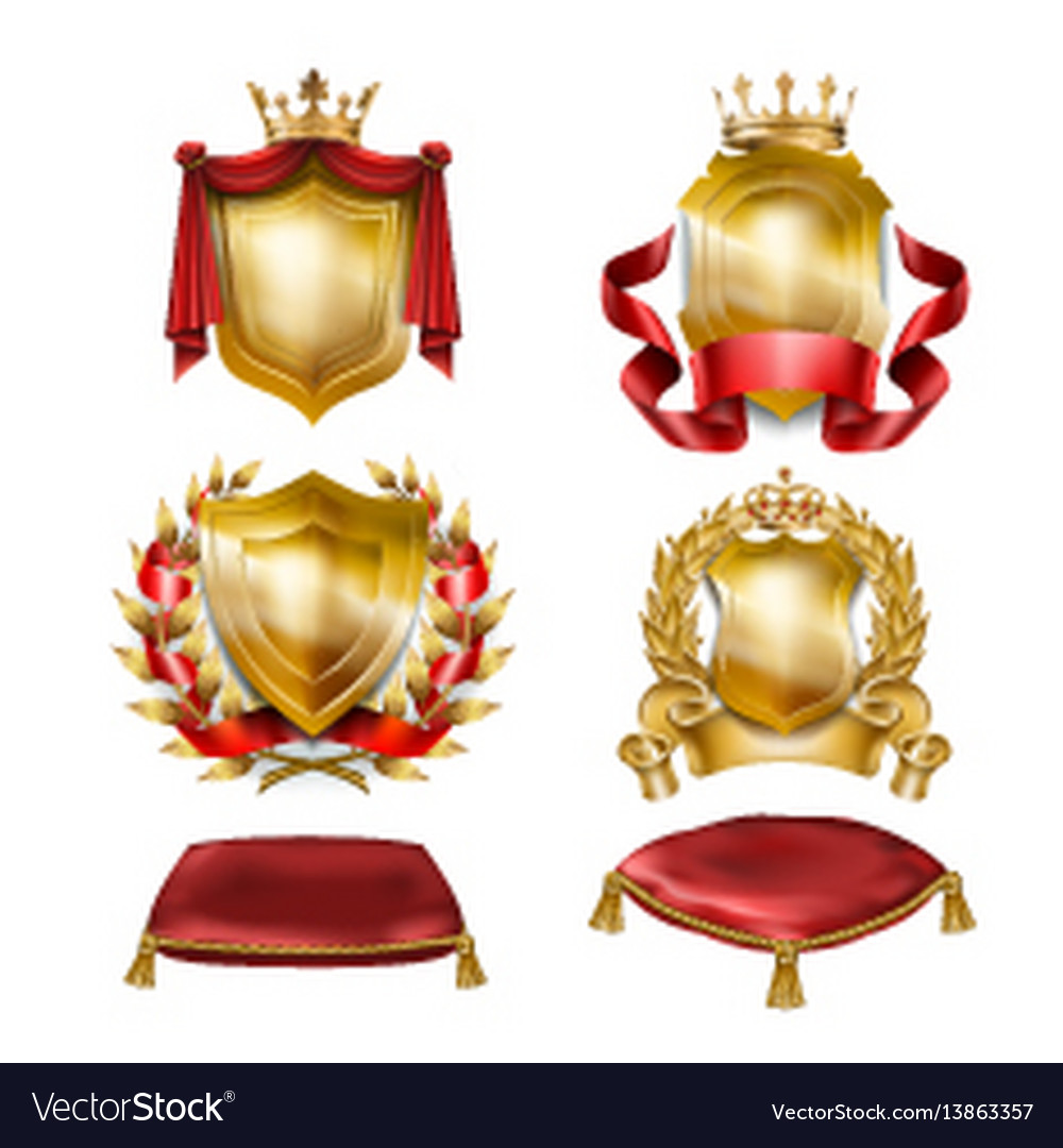 Set of icons of heraldic shields with royal
