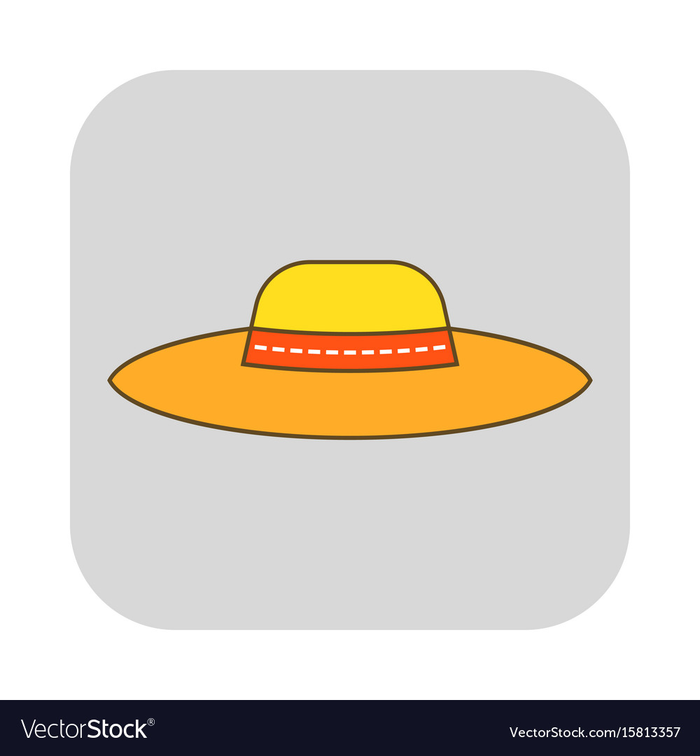 Sun hat protective clothing flat icon object of