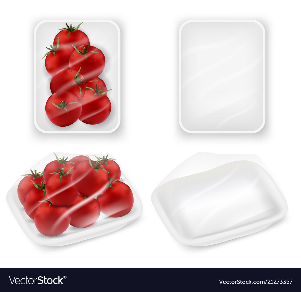Tomatoes tray package realistic mockup set