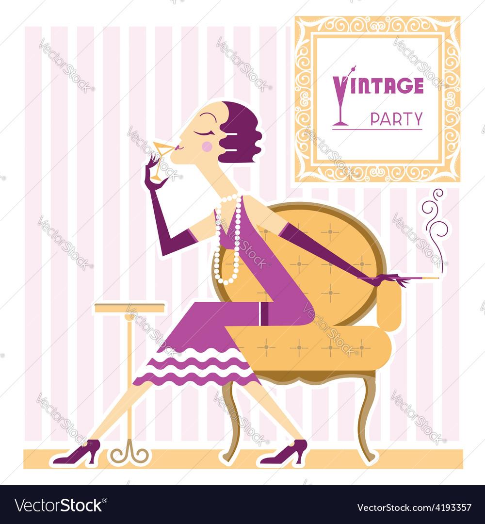 Vintage flapper girl with cigaret