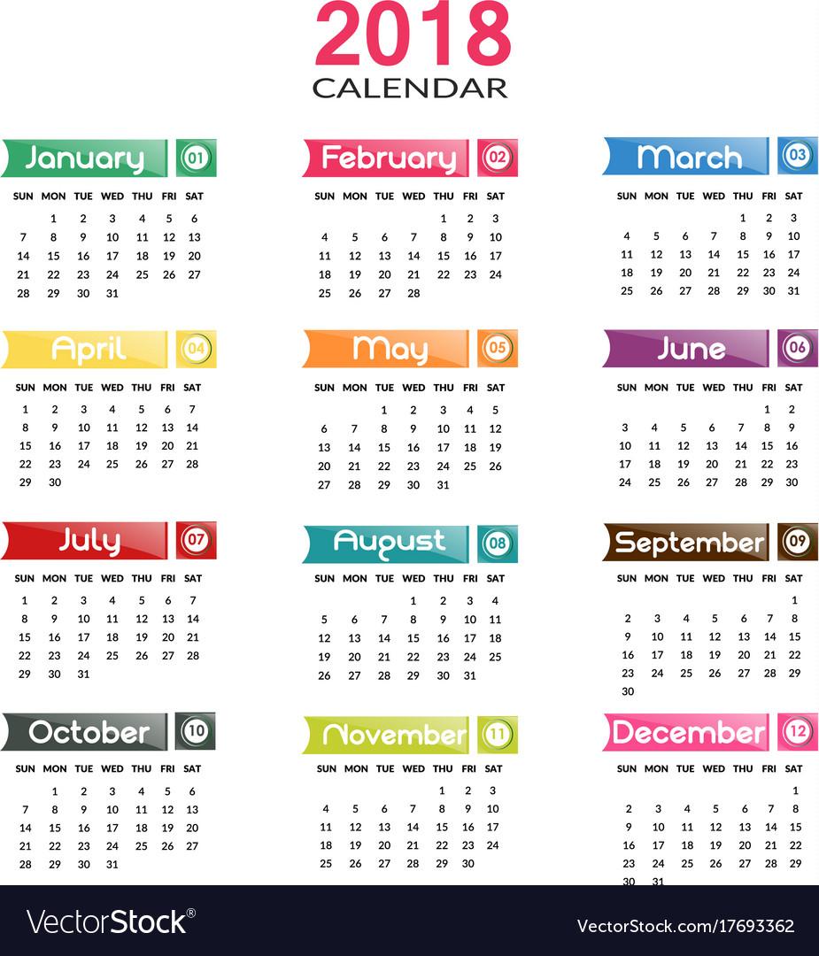 annual calendar 2018 royalty free vector image