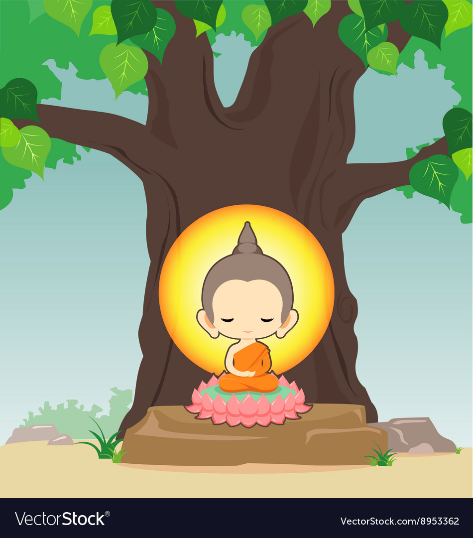 Buddha sitting on lotus flower under tree vector image izmirmasajfo