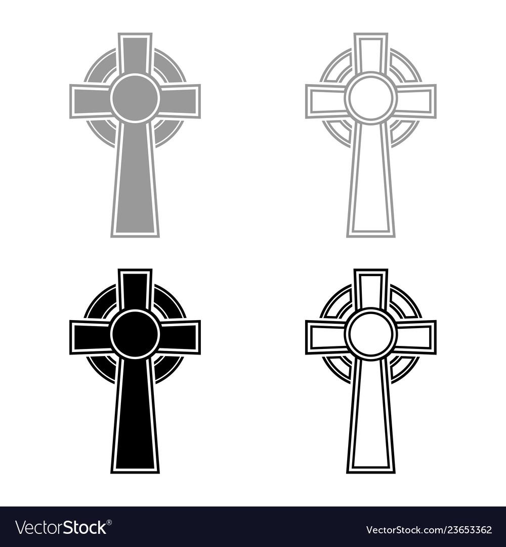 Celtic cross icon set grey black color outline