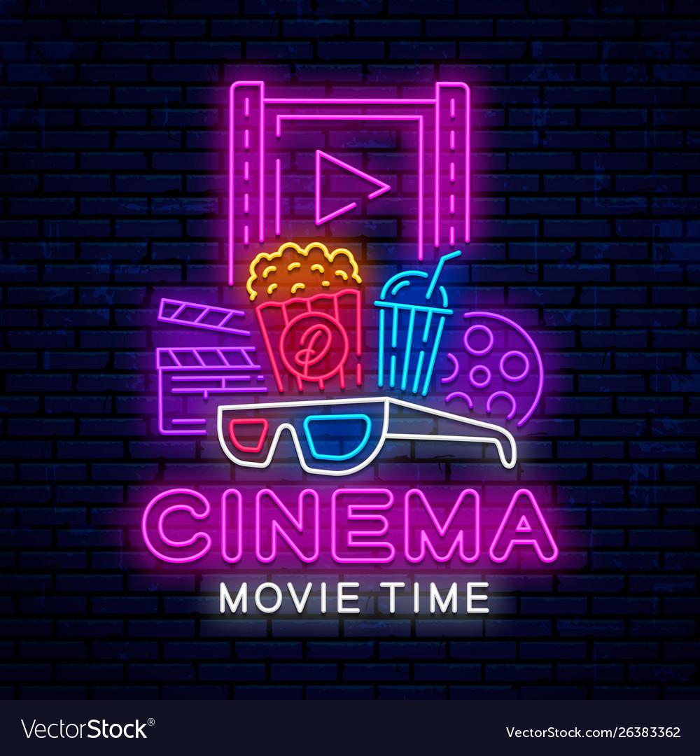 Cinema neon signboard