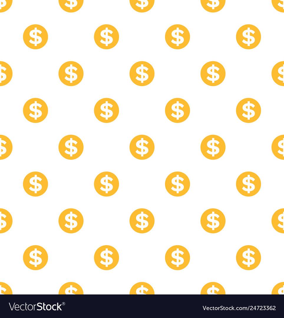 Dollar seamless pattern gold coins money profit