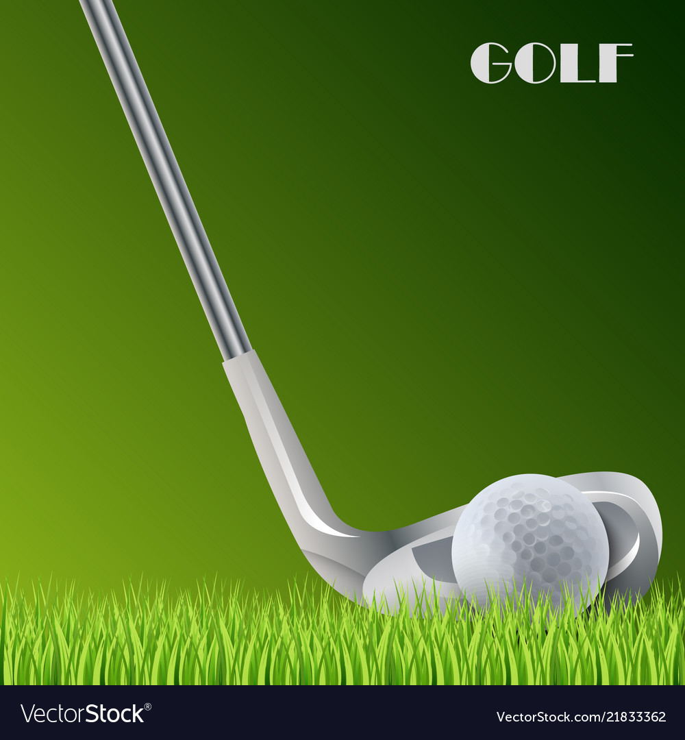 Golf green background with ball and stick template