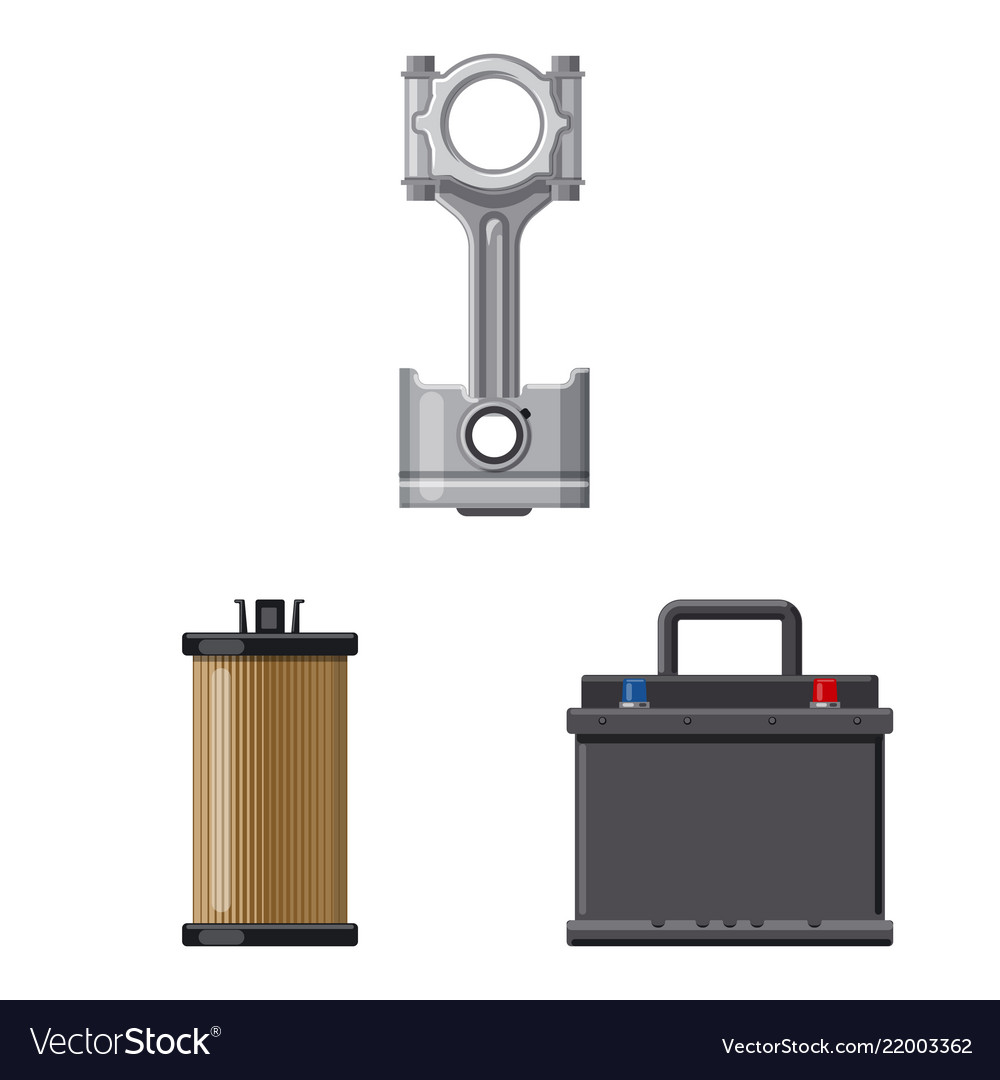 Isolated object of auto and part icon collection