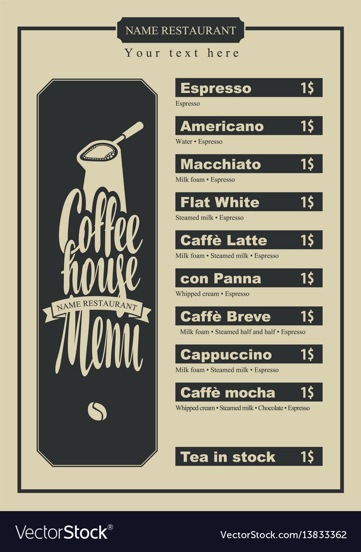 Menu with price for the coffee house with a pots
