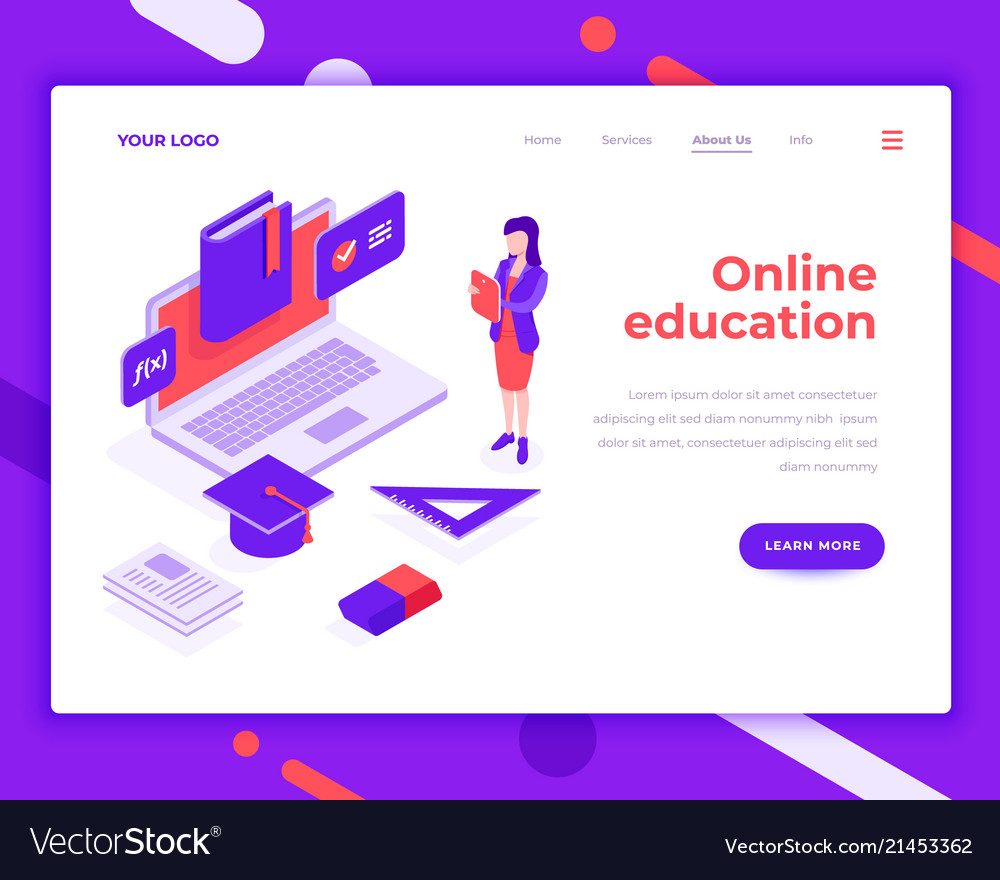 Online education people and interact with laptop