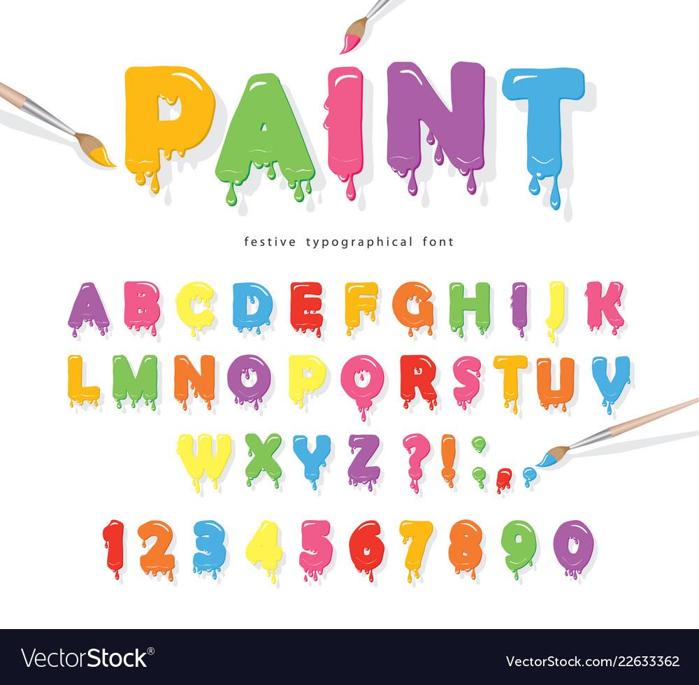 Paint flow colorful font cute funny cartoon