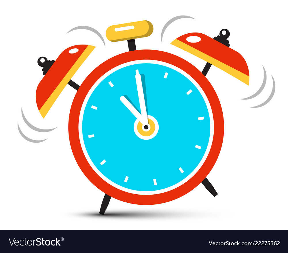 Ringing alarm clock icon with five minutes to