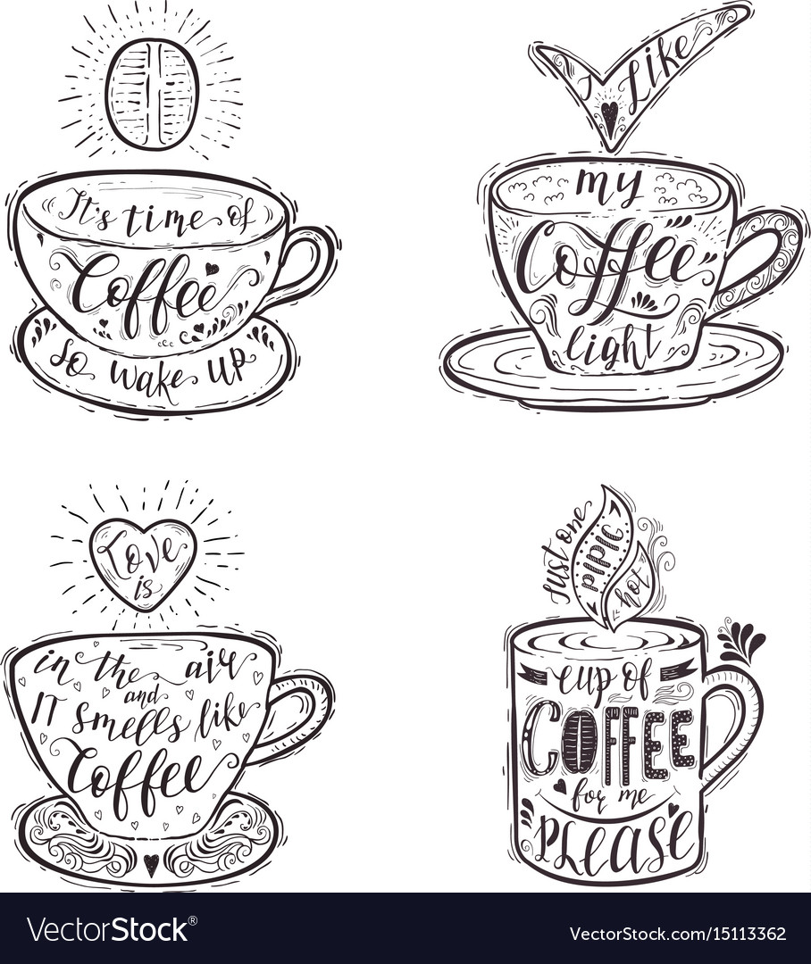 Set of quotes for coffee on a cup