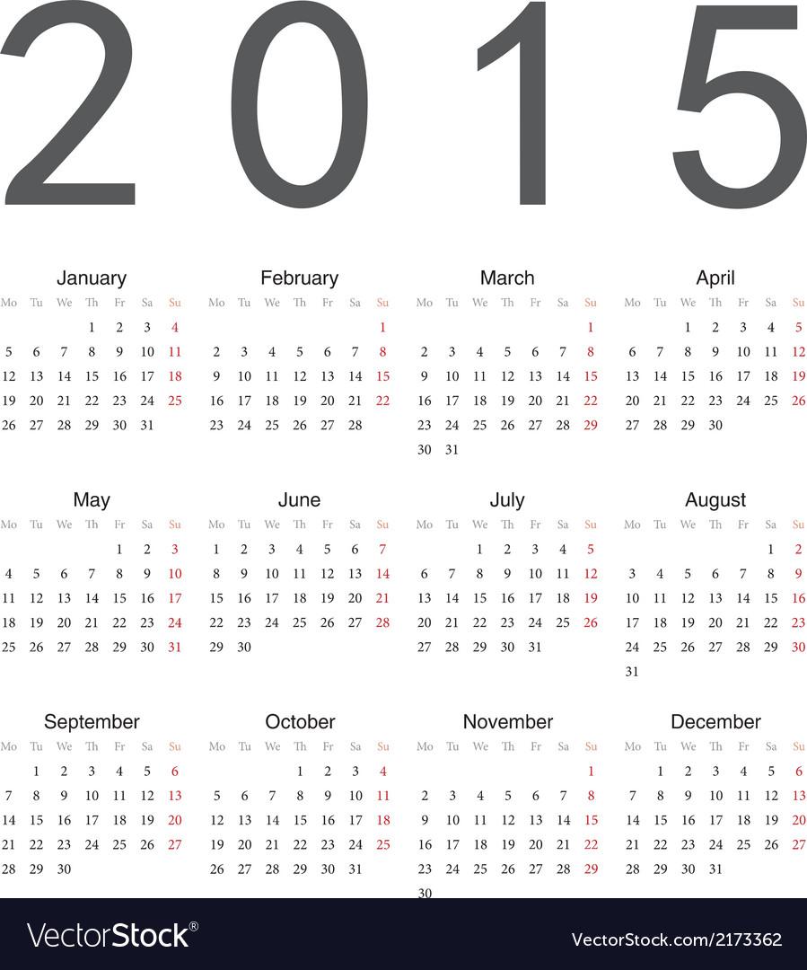 Simple european 2015 year calendar Royalty Free Vector Image