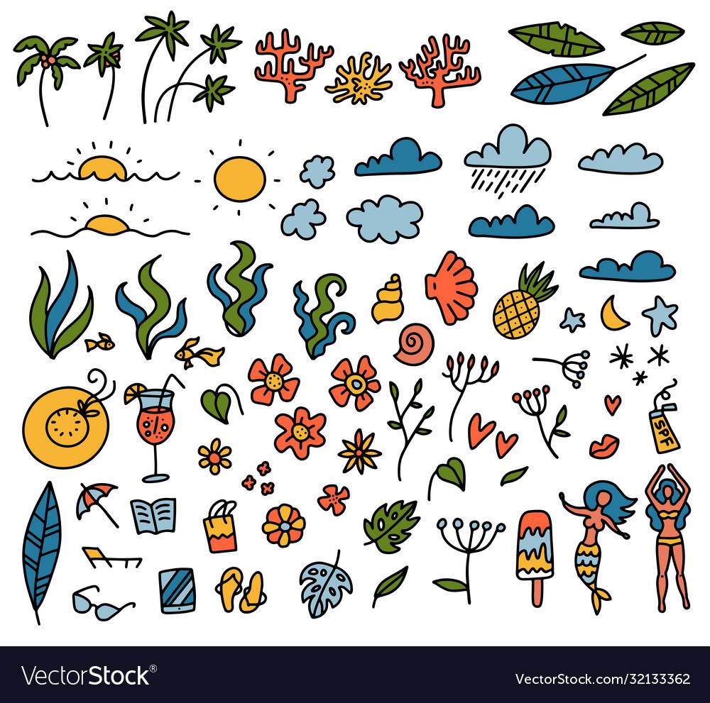 Summer set design elements tropical leaves