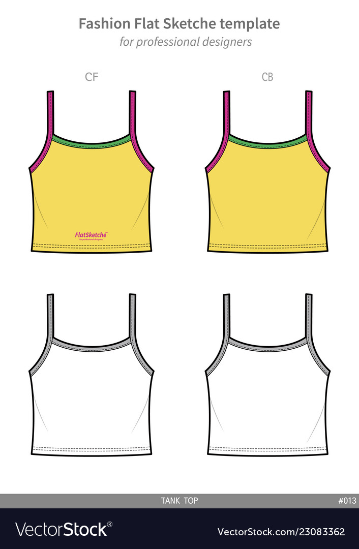 Tank Top Fashion Flat Technical Drawing Template Vector Image