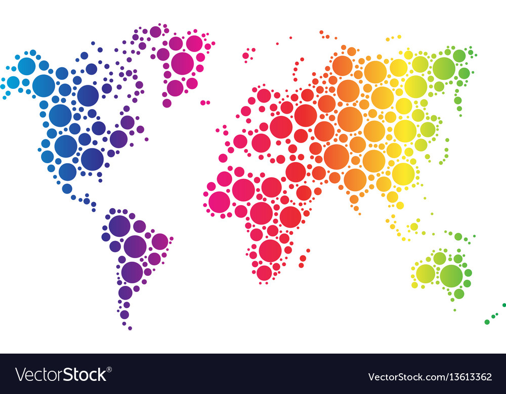 World map wallpaper mosaic of dots in rainbow vector image gumiabroncs