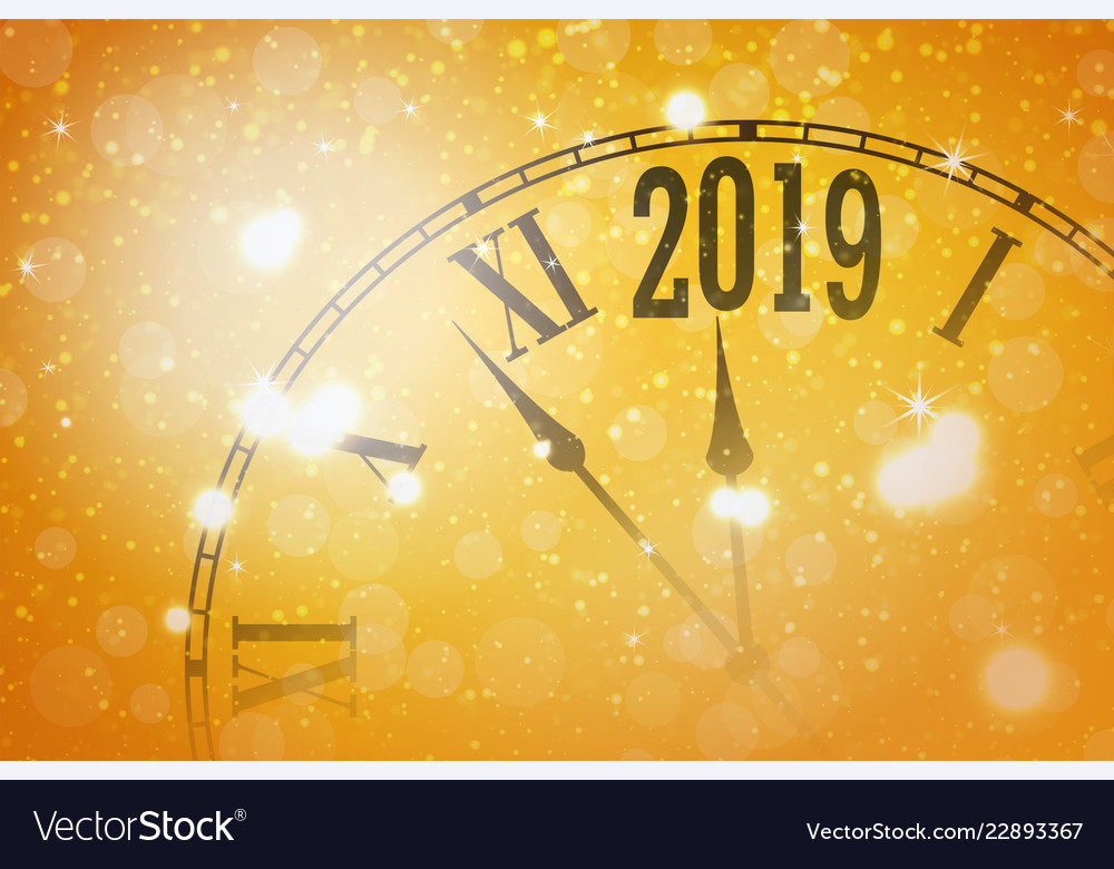 2019 new year shining banner with clock