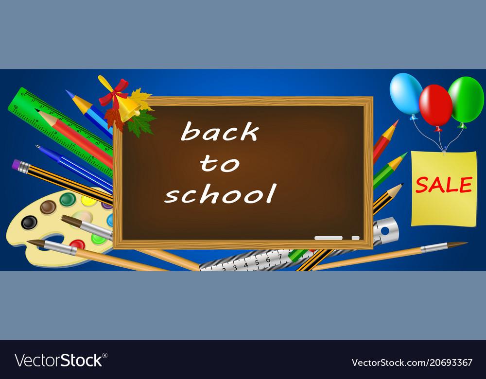 Back to school bright banner school supplies set vector image