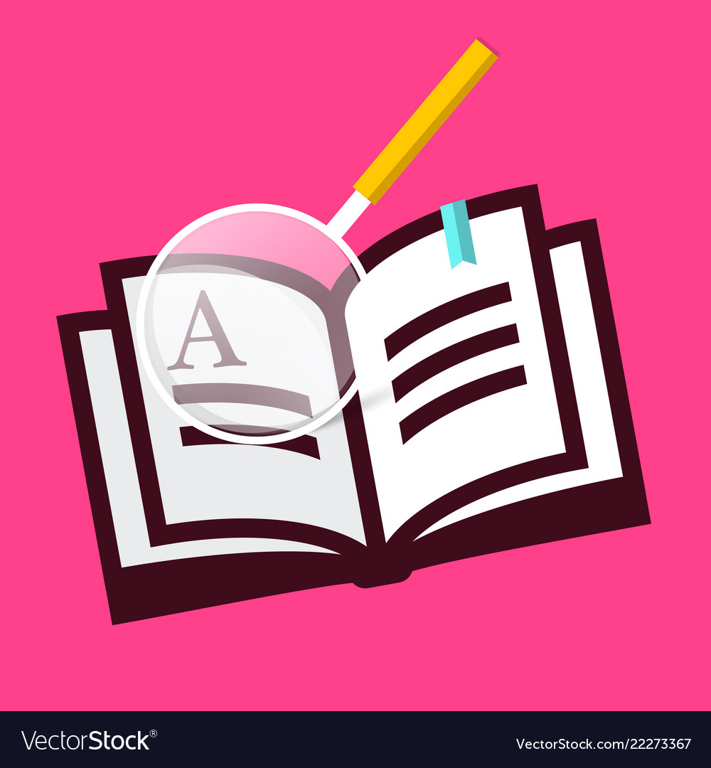 Book icon with magnifying glass on pink