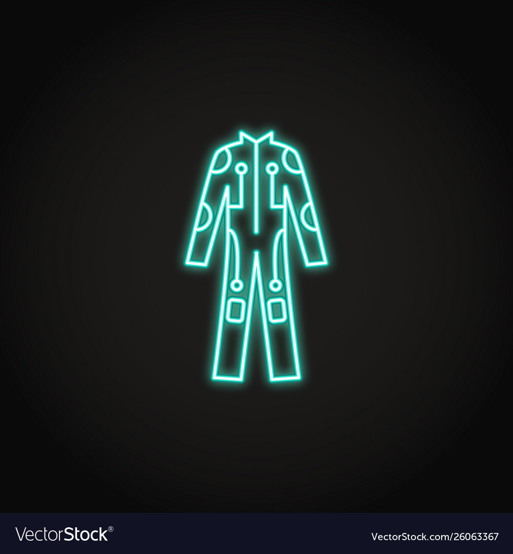 Bright cybersuit icon in glowing neon style