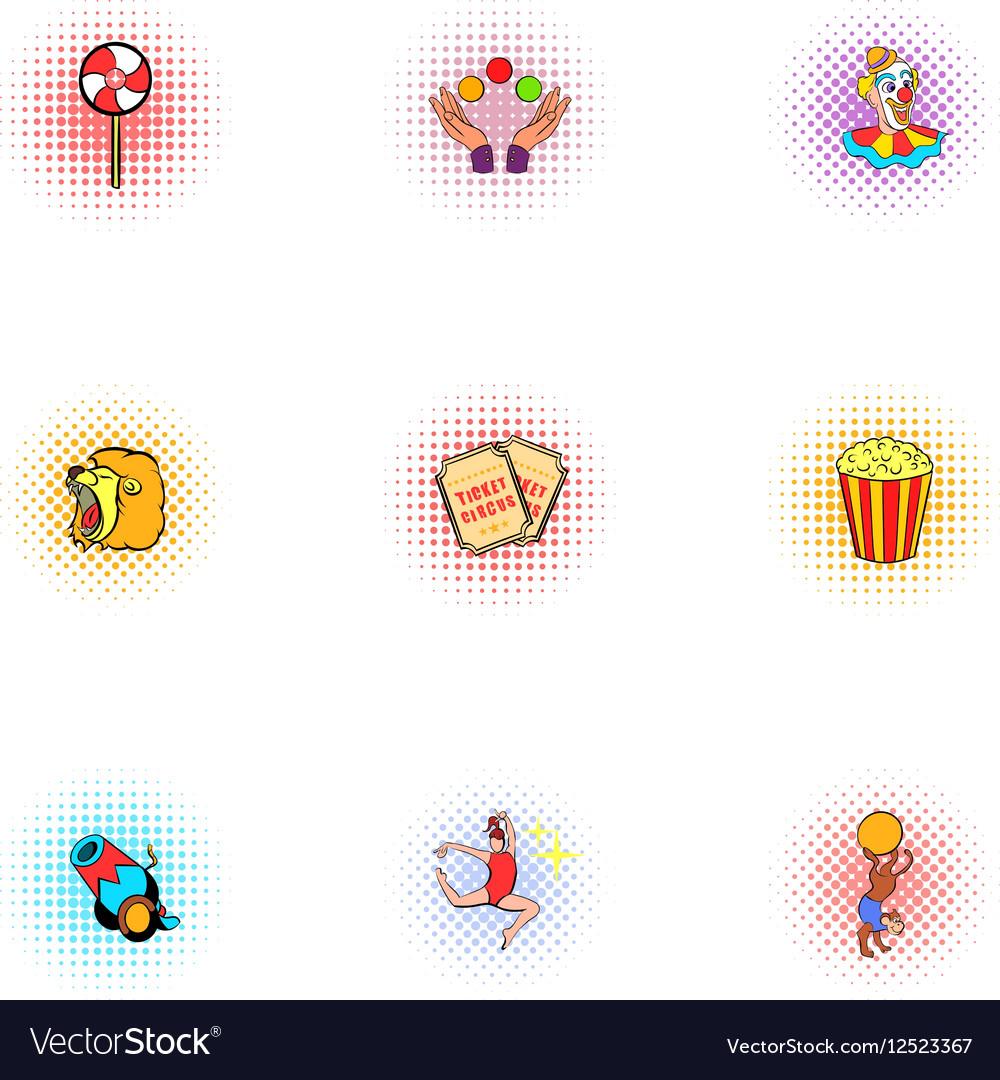 Circus chapiteau icons set pop-art style