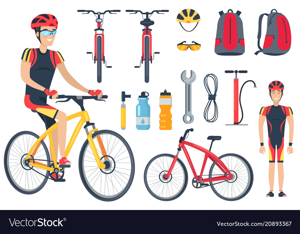 Cyclist and bicycle tools set vector image