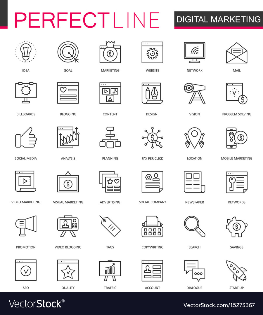 Digital marketing thin line web icons set online