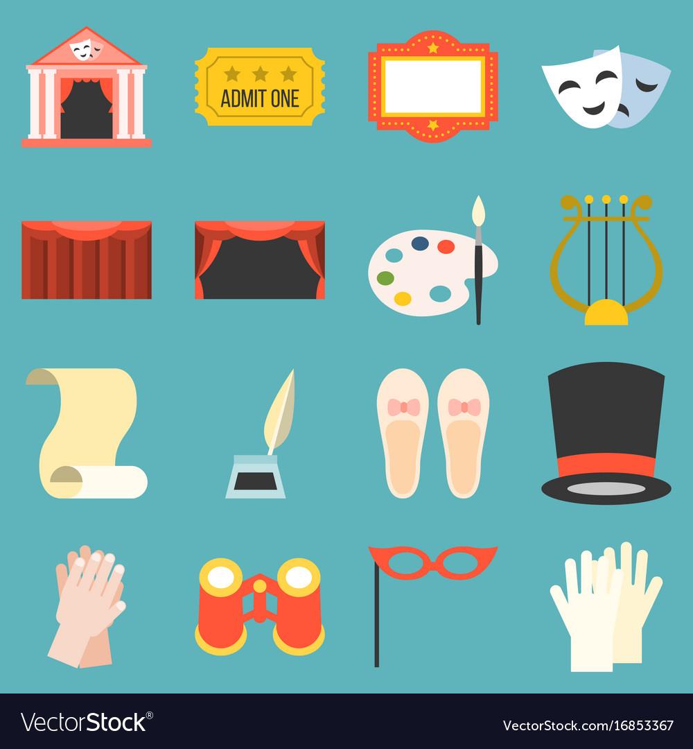 Drama opera icons set flat design