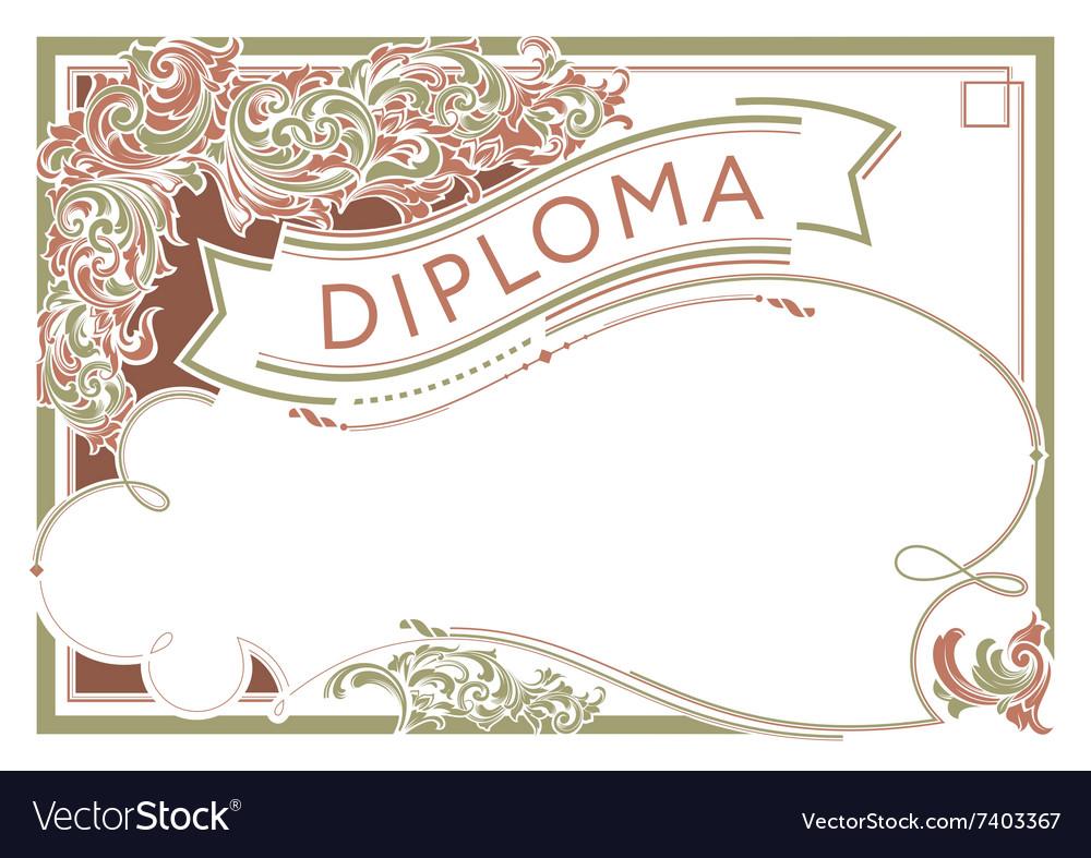 Horizontal diploma design template in vintage