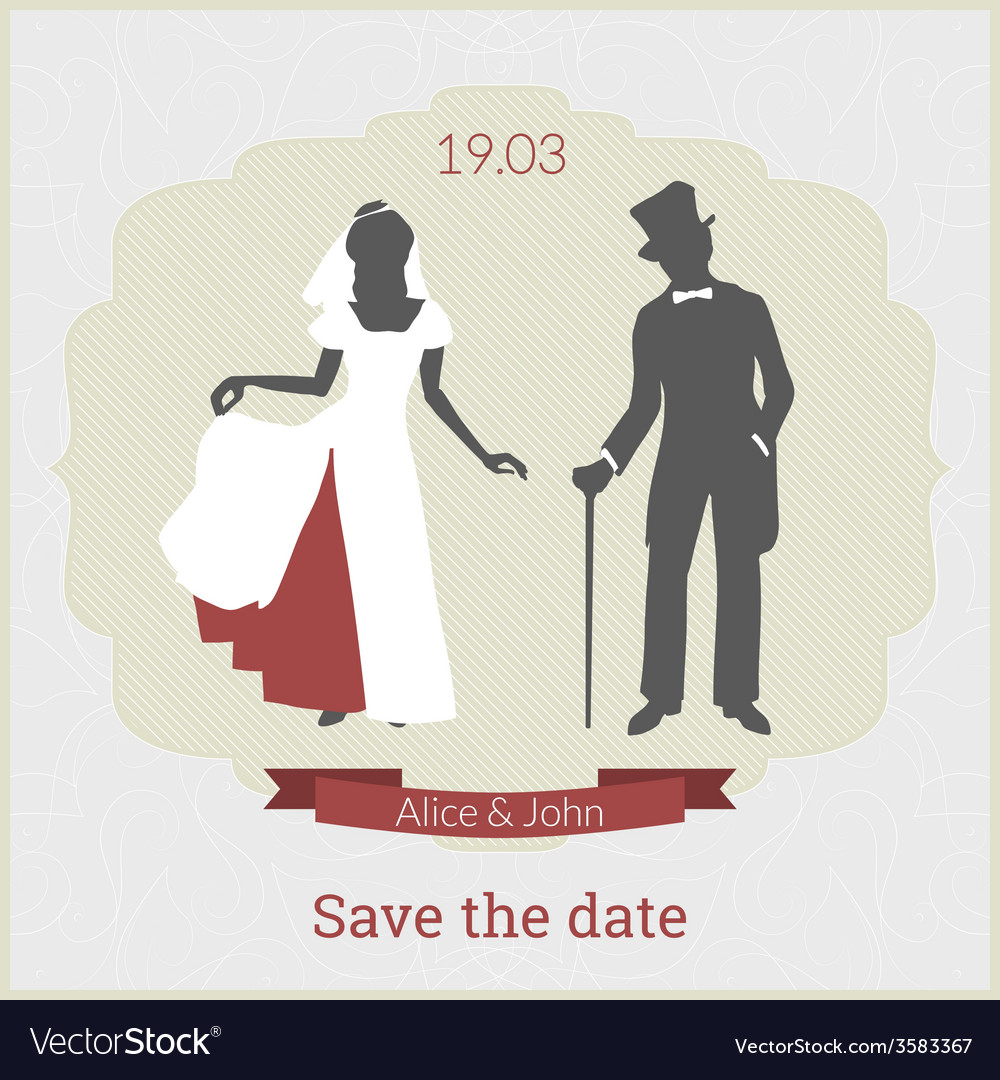 Save date card template with bride and groom