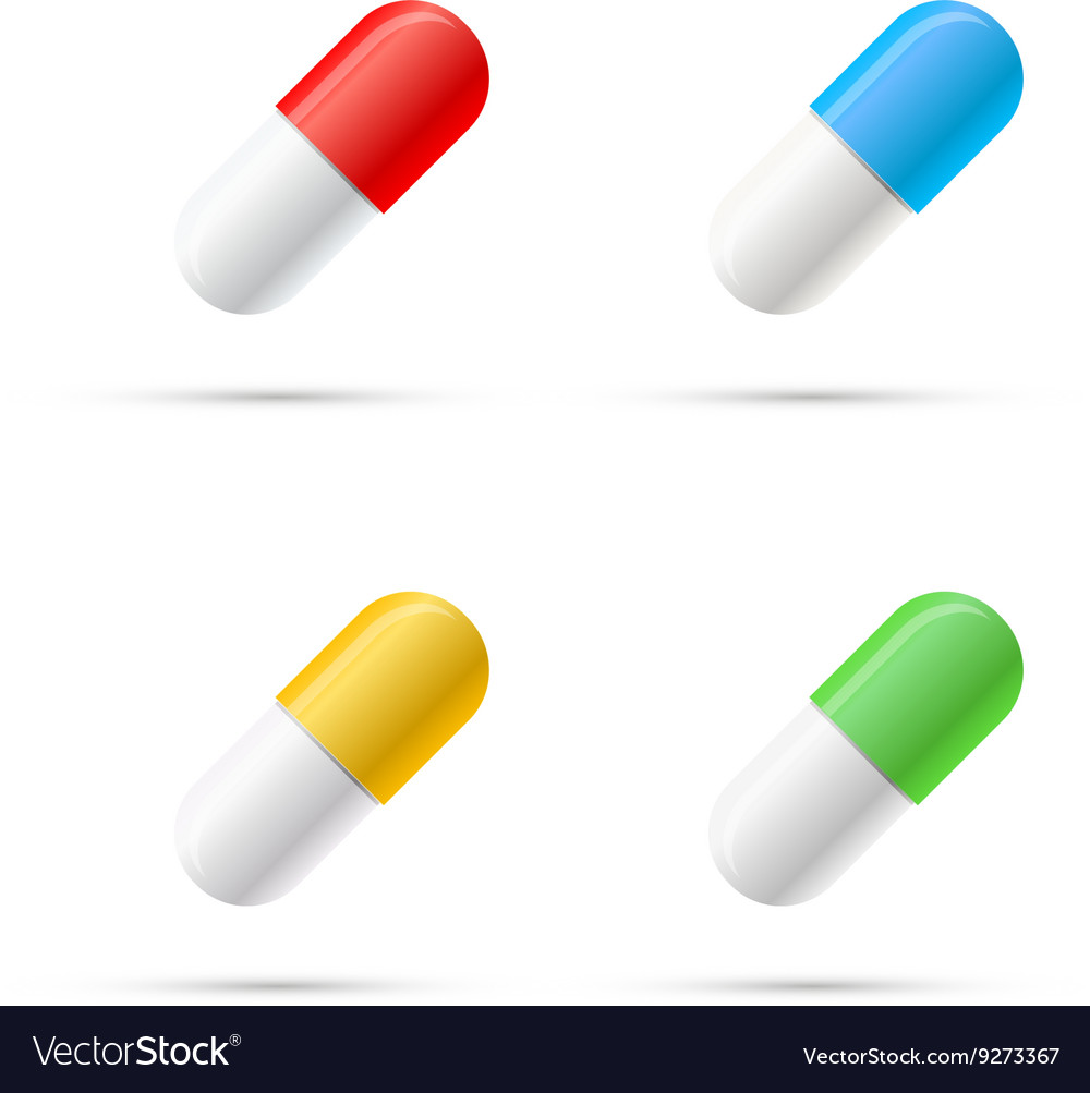 Set of different colours pills capsules on white