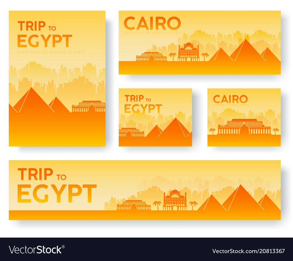 Set of egypt landscape country ornament travel
