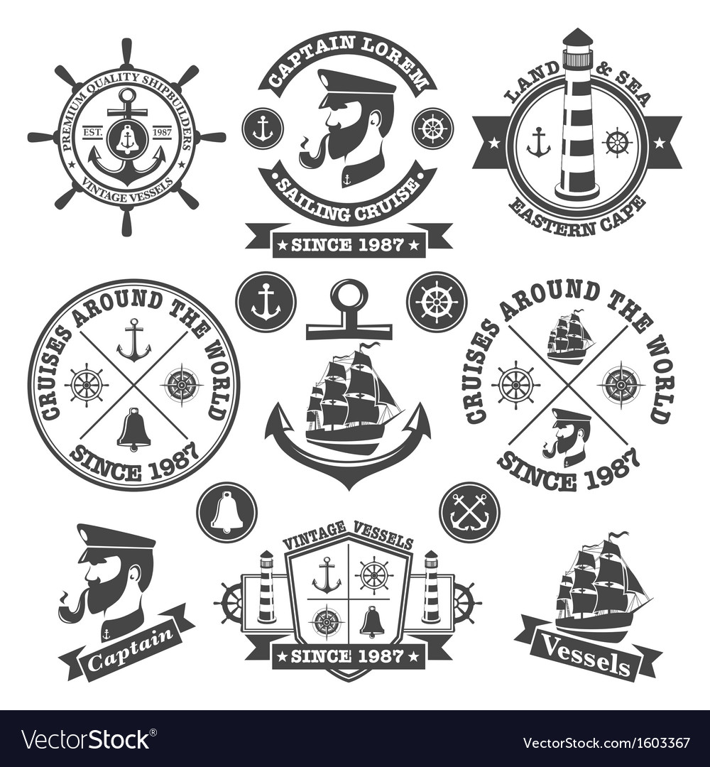 Set of vintage nautical labels and icons 2