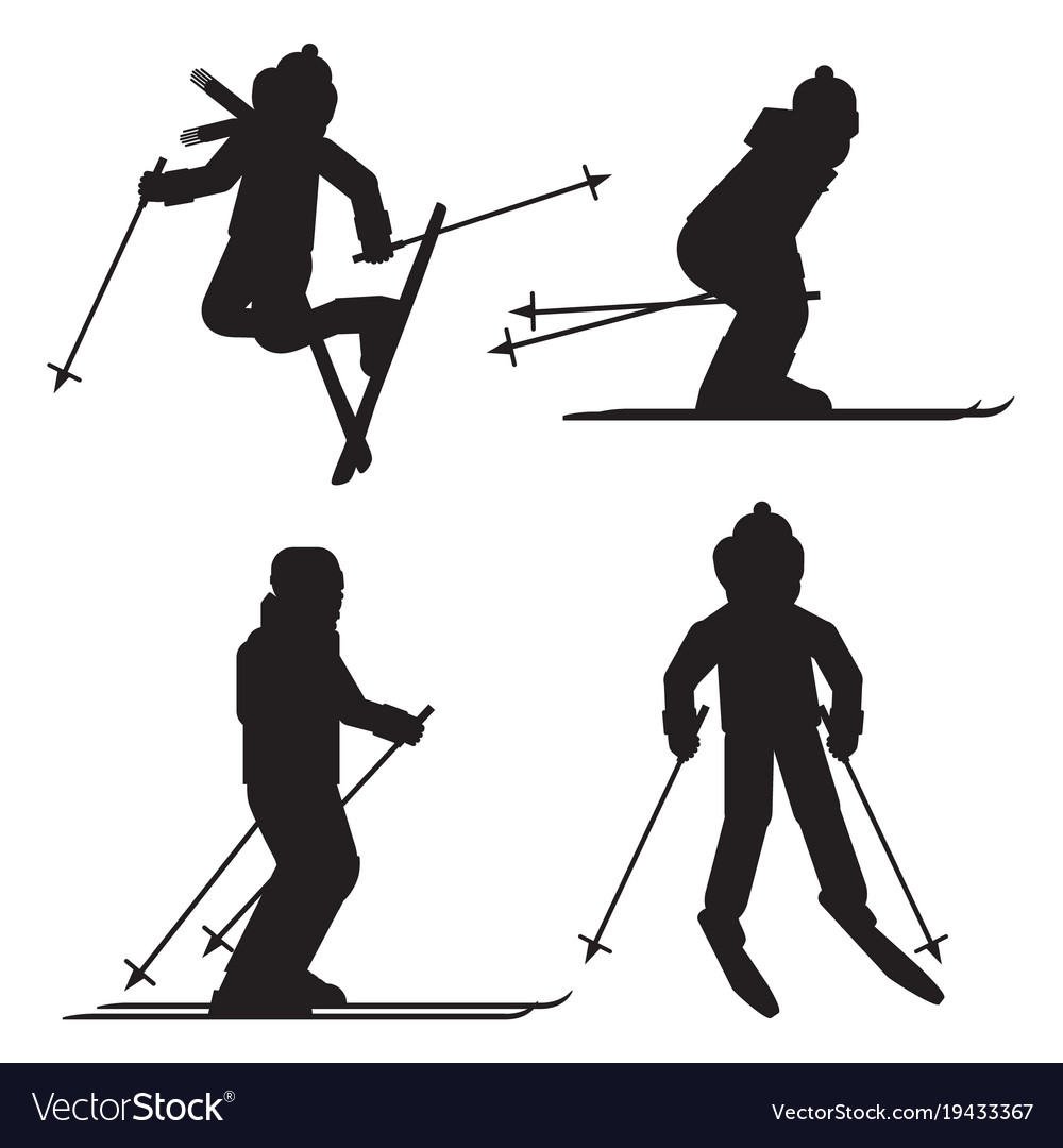 Skier Silhouette Icon Set Isolated Jumping Vector Image