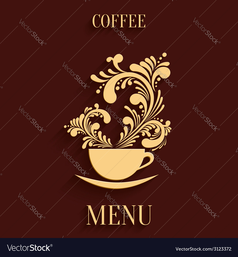 Abstract 3d Cup of Coffee with Floral Aroma Design vector image