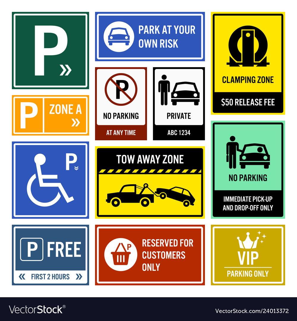 Car park parking signs signboards a set of