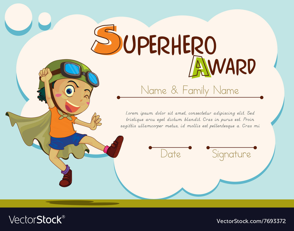 Certificate Template With Boy Being Superhero Vector Image