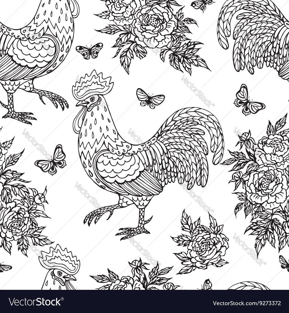 Cock flower pattern outline vector image