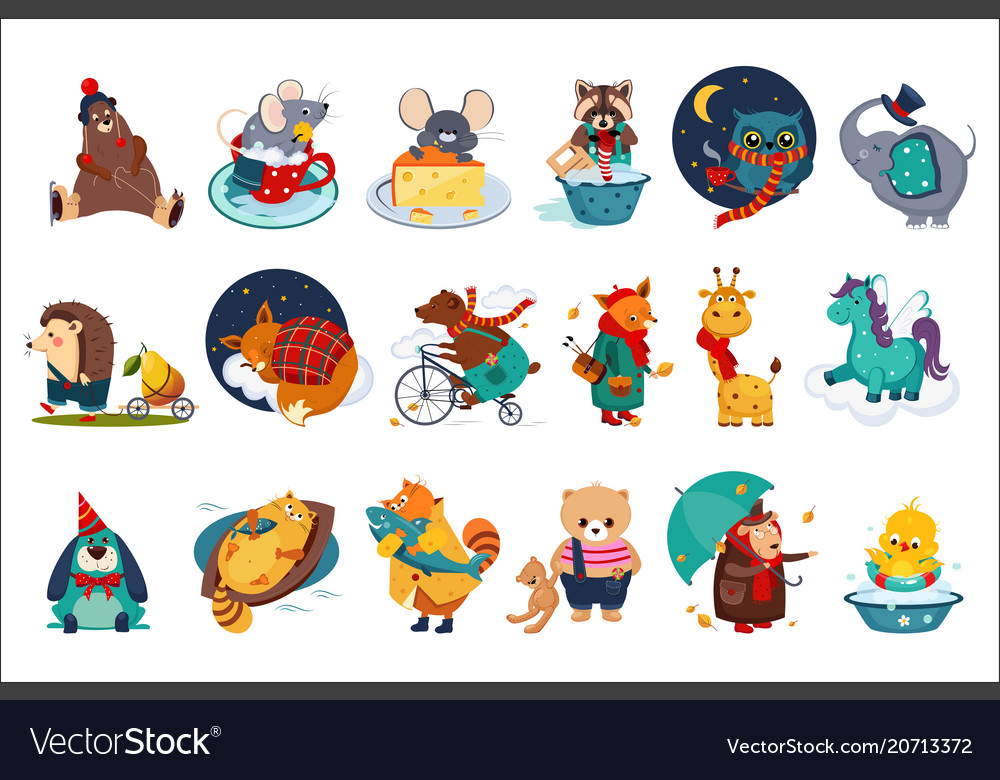 Flat set of fairy animals in different